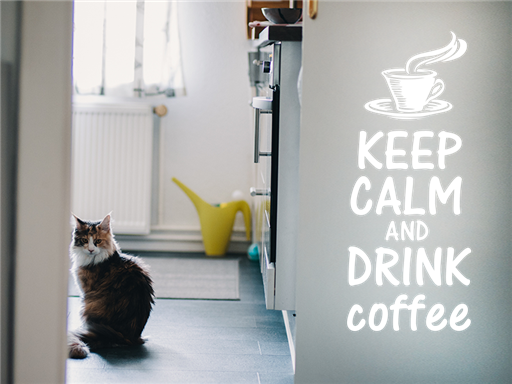 Keep calm and drink coffee samolepky na zeď, Keep calm and drink coffee nálepky na stěnu, Keep calm and drink coffee dekorace na zdi, Nápis Keep calm and drink coffee tapety na zdi